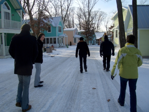Ice walk to the beach after dinner. 3-6 inches of ice on road.