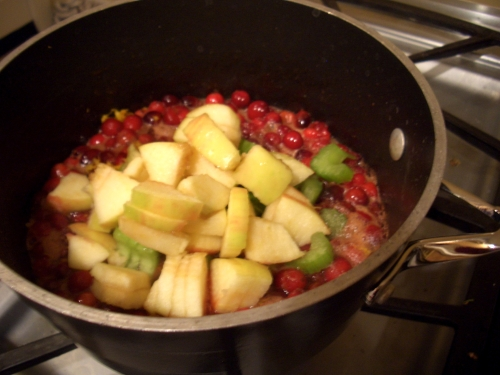 Final addition of apples and celery. Do not freak out about celery. It is for texture, not taste.
