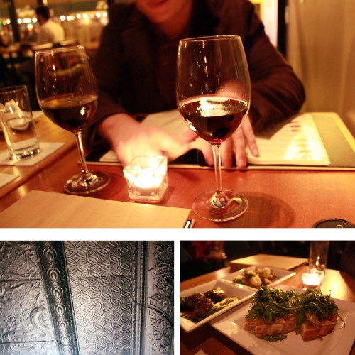 Wine, small plates, and a pretty tin ceiling.