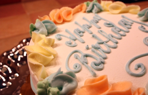 "The instructions were to decorate it with ""man colors."" Really? Pastels? Delicious regardless."