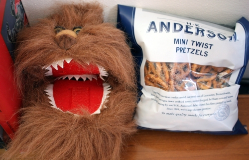 Alex hosted another happy hour in the corner office. Fizzgig came, and brought pretzels to pass. He is clearly excited.