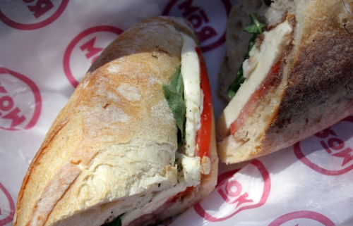 Napoli Sandwich from Rom. Mozzerella, Tomato, Basil, and Balsamic on a Baguette. Perfect.