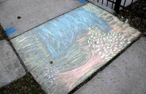 This is prity prity good. Justin claims it was his, and that he is using his many degrees for sidewalk-chalk-painting.