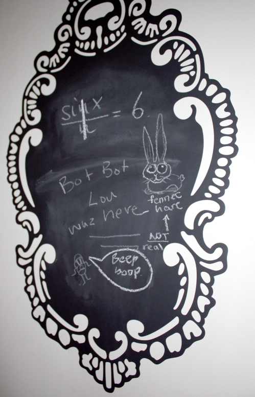 Chalkboard decal by the door. Note that the Fennec Hare drawn there is not real.