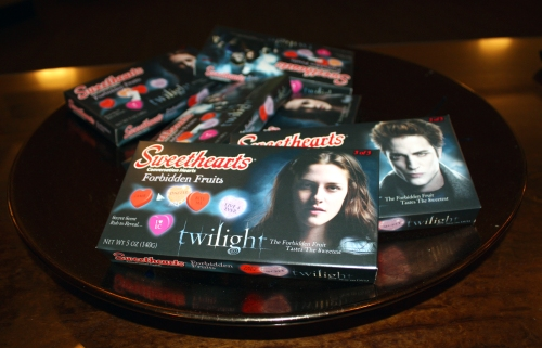 Ha! Twilight candy favors were set out in the party room.