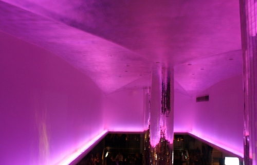 Purple vaulted ceiling. Obviously.