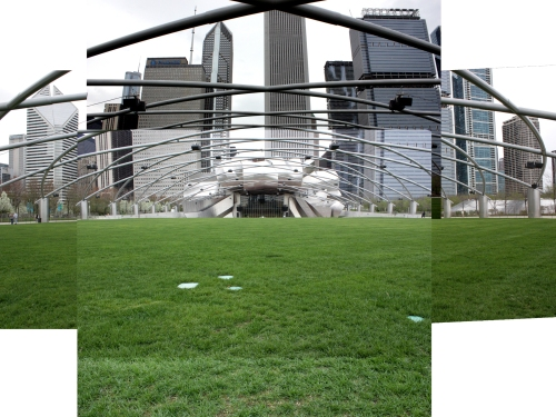 Mash up of the Pritzker Pavilion. We aren't allowed to walk on the grass, since it is still in recovery mode from all the concerts last season.