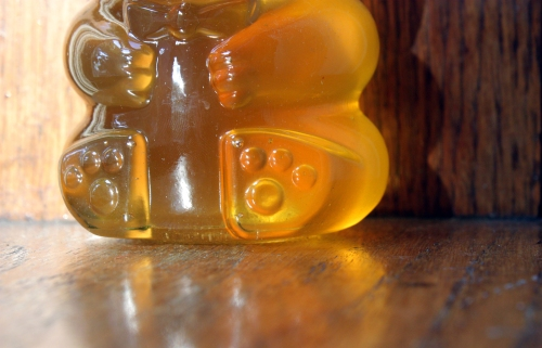 My favorite jar is Mr. Honey Bear. He is glowing with his belly full of unfiltered Indiana honey.