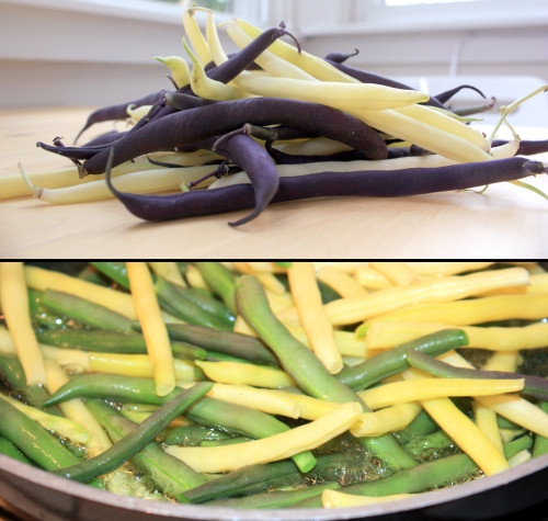 Wax and Burgandy beans from the market. Didn't realize that they turn green when cooked. Weird.