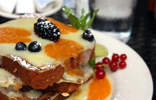 Casey's key lime and apricot brioche french toast: Three thick slices of french toast layered with homemade lime curd and fresh apricot.