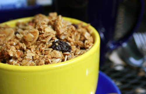Taste of Heaven's steel cut oatmeal with peach compote and granola.