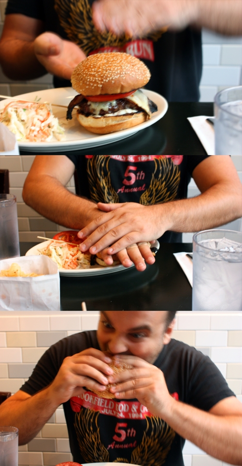 On a happier note, my friend Randy just got a job in Chicago and is moving here! He will be a fine addition to this great city. Here he is showing the proper way to smash/eat an oversized burger with way too much grease. Welcome to Chicago!