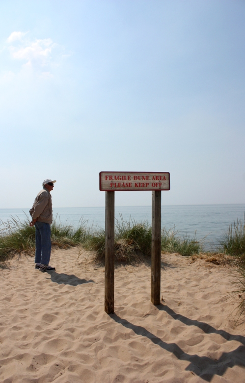 Here is Grandpa on the dunes. He is quite the daredevil, as you can see. Sign reads